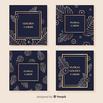 Złota kolekcja kart kwiatowy