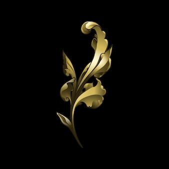 Złote barokowe elementy kwiatowy wektor