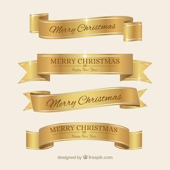 Złote eleganckie wstążki Boże Narodzenie