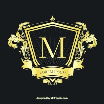 Złote logo w stylu vintage i luksusowym