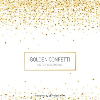 Złoty confetti tło w realistycznym stylu