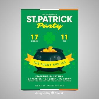 Złoty kocioł st patrick party party plakat
