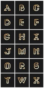 Złoty retro alfabetów wektor zestaw