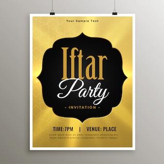 Złoty szablon zaproszenia ramadan iftar