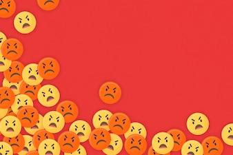 Zły emoji oprawione tło