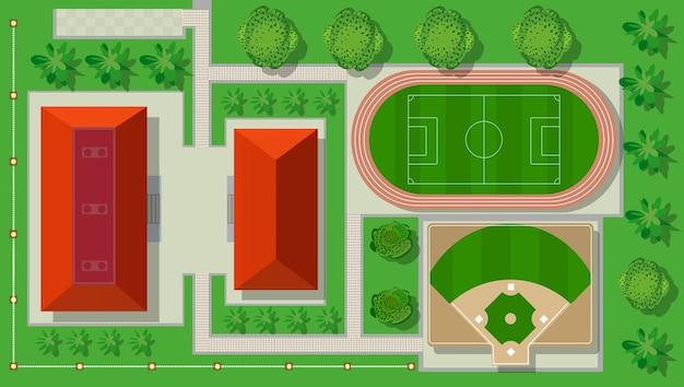 Z góry widok z góry to boisko stadionu sportowego