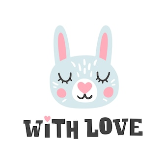 Z miłością. głowa królika i romantyczny ręcznie rysowane cytat. charakter twarzy króliczka.