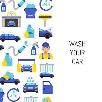 Z myjnią samochodową płaskie ikony i miejsce na tekst
