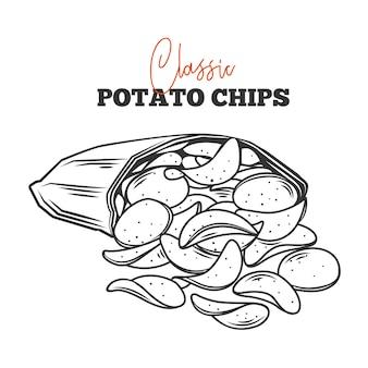 Z obrysu opakowania wysypało się kilka chipsów ziemniaczanych