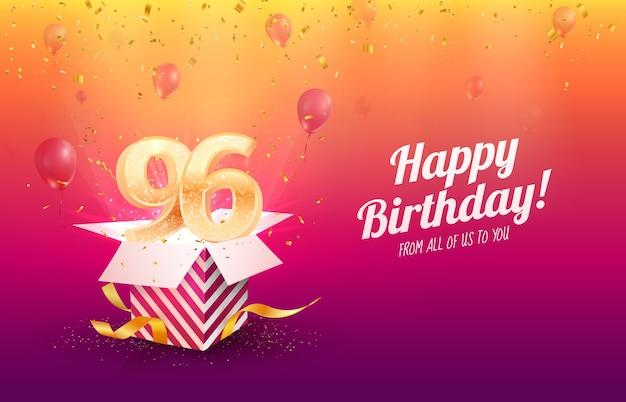 Z okazji urodzin ilustracji wektorowych 96 lat. dziewięćdziesiąt sześć obchodów rocznicy. dzień urodzenia osoby dorosłej. otwórz pudełko prezentowe z latającymi numerami świątecznymi