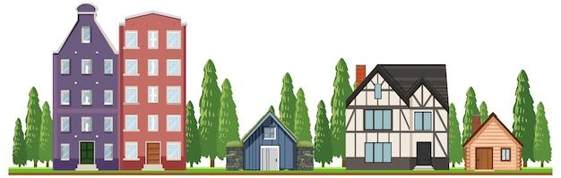 Z przodu wiejskie domy na białym tle