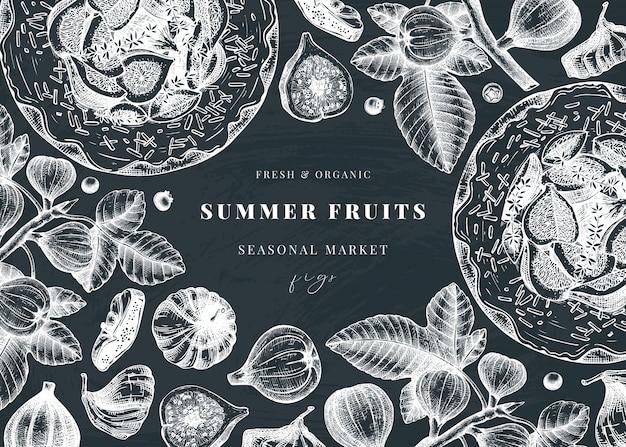 Z ręcznie rysowane szkice figi na tablicy kredowej. rama z botaniczną ilustracją gałęzi figowej, świeżych i suszonych owoców, do pieczenia ciasta. retro szablon z letnimi elementami żywności.