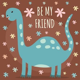 Z uroczym dinozaurem. doskonały do nadruków na koszulki i tekstylia dla dzieci i niemowląt, karty