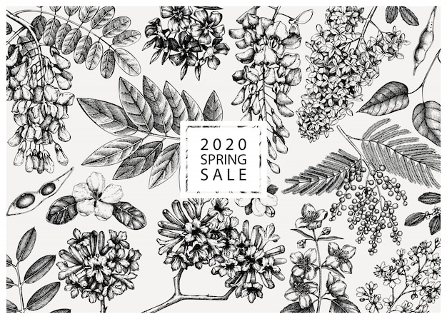 Z wiosennymi drzewami w kwiatach ilustracjach. ręcznie rysowane tła kwitnących roślin. wektor kwiat, liść, gałąź, szablon szkiców drzewa. karta wiosny lub kartka z życzeniami.