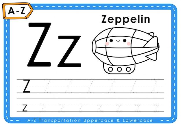 Z - zeppelin: arkusz z listami śledzenia transportu alphabet az