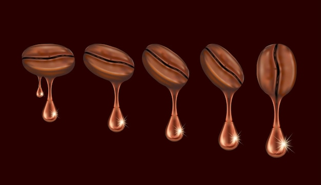 Z ziaren kawy spada woda.