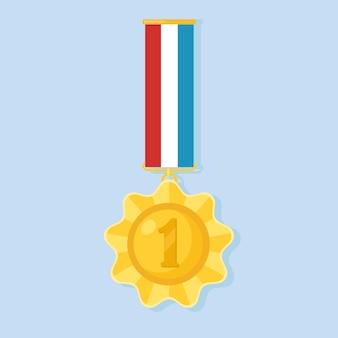Za pierwsze miejsce złoty medal z kolorową wstążką. trofeum, zwycięzca nagroda na białym tle na tle. ikona złotej odznaka. sport, osiągnięcia biznesowe, koncepcja zwycięstwa. ilustracja. projekt płaski