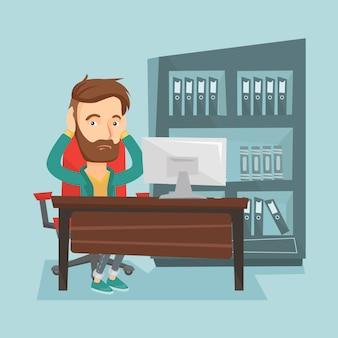Zaakcentowany pracownik pracuje w biurze.