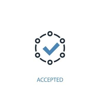 Zaakceptowana koncepcja 2 kolorowa ikona. prosta ilustracja niebieski element. zaakceptowany projekt symbolu koncepcji. może być używany do internetowego i mobilnego interfejsu użytkownika/ux