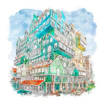Zaandam holandia akwarela szkic ręcznie rysowane ilustracji