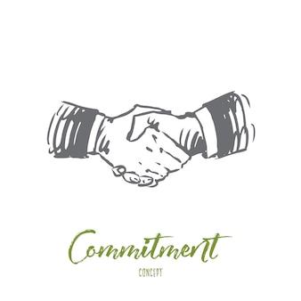 Zaangażowanie, ręka, umowa, biznes, koncepcja partnerstwa. ręcznie rysowane ręcznie potrząsanie szkic koncepcyjny.