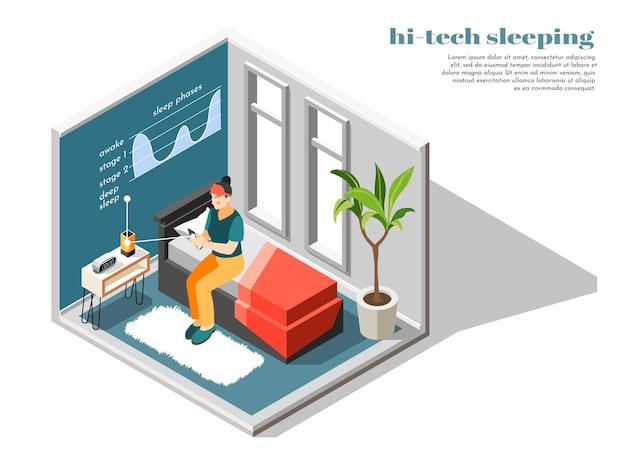 Zaawansowana technologicznie kompozycja izometryczna i kolorowa spania z elektronicznym narzędziem zapewniającym dobry sen