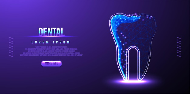 Ząb dentystyczny, szkielet low poly
