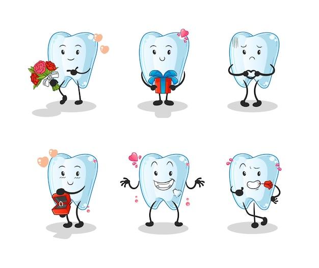 Ząb miłość zestaw znaków. kreskówka maskotka