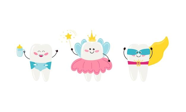 Ząb mleczny, wróżka ząbka dziecka, superbohater. na białym tle słodkie szczęśliwe postacie zębów ze skrzydłami, koroną, magiczną różdżką, pieluchą, filiżanką niekapka, płaszczem. ilustracja wektorowa w stylu kreskówki