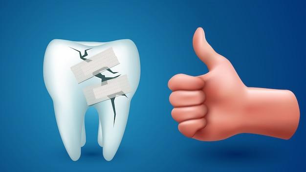 Ząb na niebiesko ręką
