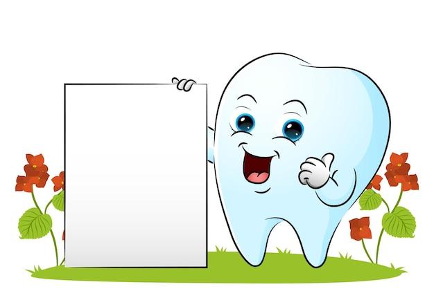 Ząb pokazuje pustą deskę i pokazuje kciuk ilustracji