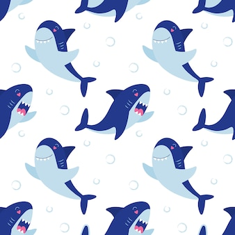 Ząb rekiny wzór. podwodny słodki charakter. dziecięcy nadruk na opakowania, tkaniny, tapety, tekstylia.