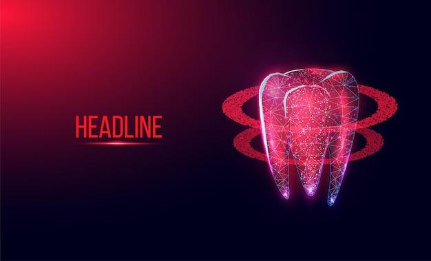 Ząb. streszczenie szkielet low poly styl transparentu. usługi stomatologiczne, leczenie zębów, opieka stomatologiczna, koncepcja stomatologii. ciemnoniebieskie tło. ilustracja wektorowa.