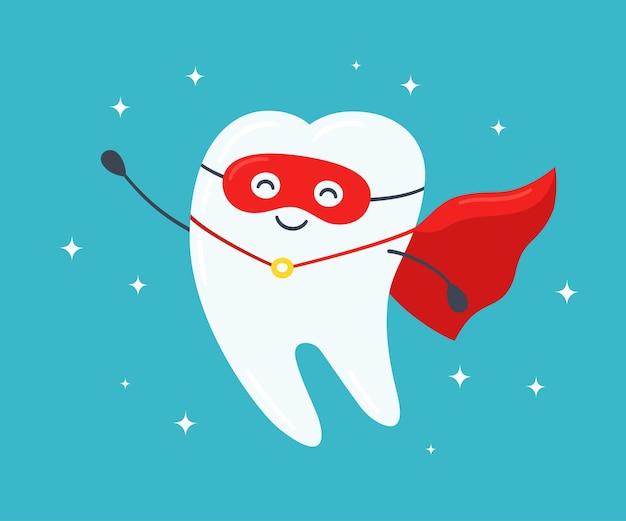 Ząb superbohatera. szczęśliwy zdrowy ząb w czerwonym płaszczu. ilustracja wektorowa na niebieskim tle