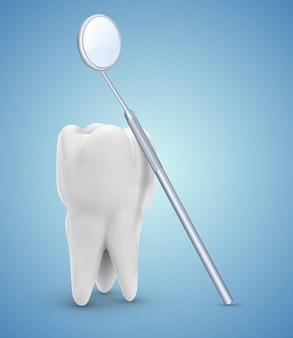 Ząb trzonowy. czyszczenie zębów i higiena osobista, narzędzia dentystyczne