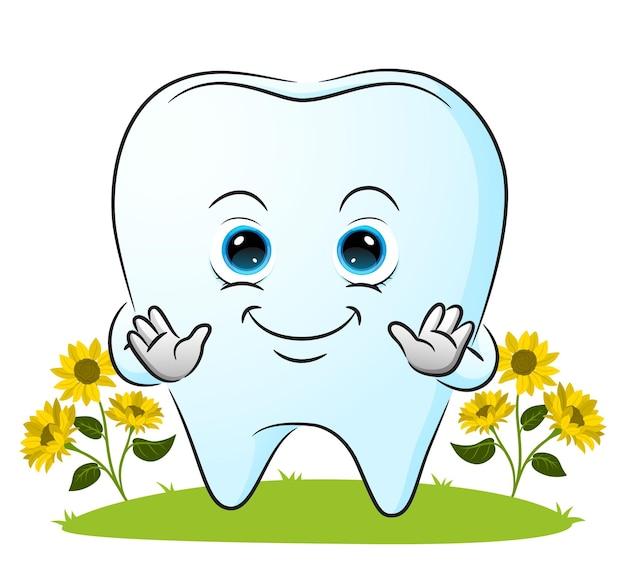 Ząb uśmiecha się ze szczęśliwą twarzą ilustracji