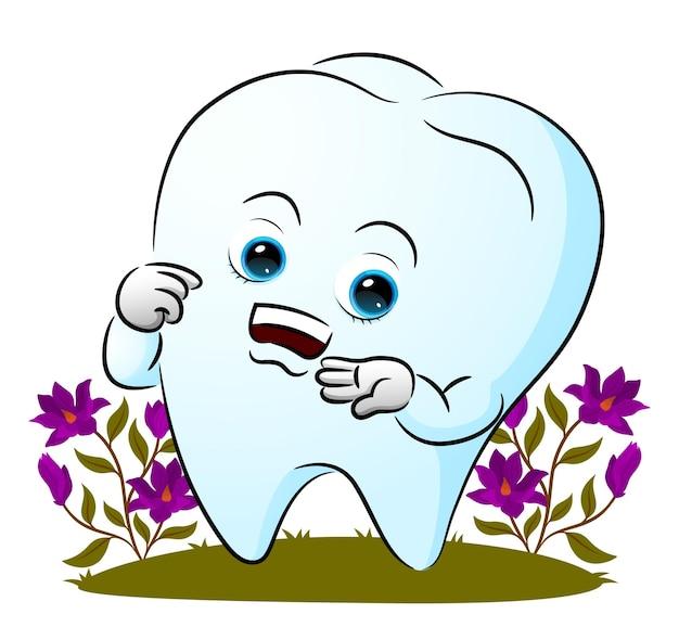 Ząb wskazuje i pokazuje usta ilustracji