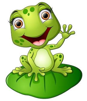 Żaba kreskówka siedzi na liściu