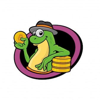 Żaba maskotka trzyma bitcoin
