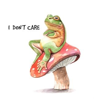Żaba na pieczarkowym akwarela obrazie.
