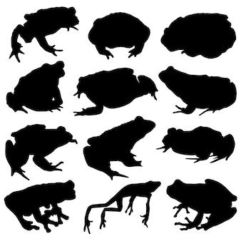 Żaba Ropucha Rzeka Zwierzę Clip Art Silhouette Vector Premium Wektorów