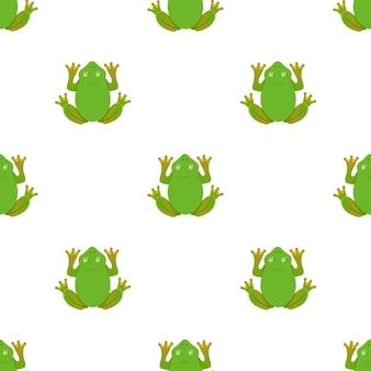 Żaba wzór na białym tle. płaskie ilustracji wektorowych