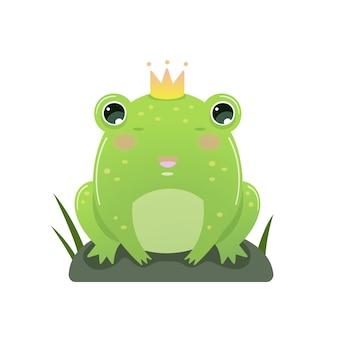 Żaba z koroną na białym tle