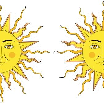 Zabarwiona na żółtą twarz w połowie słońca