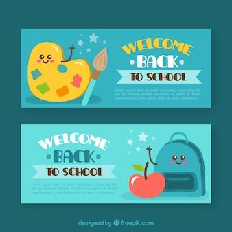 Zabawa banery z materiałami szkolnymi
