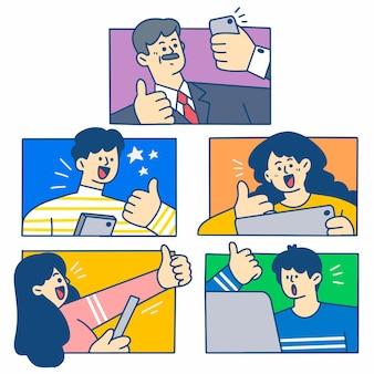 Zabawa creative video conference ilustracja pierwszy zestaw