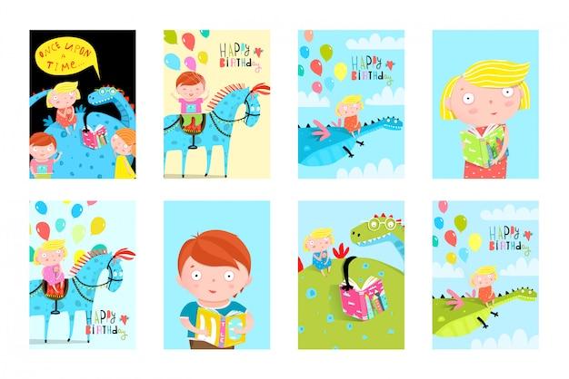 Zabawa dla dzieci czytanie książek balony urodziny bajki kolekcja kart okolicznościowych