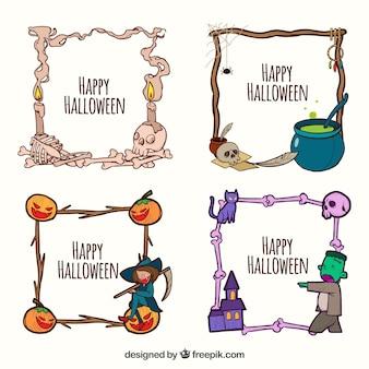 Zabawa halloween ramki z ręcznie narysowanego stylu