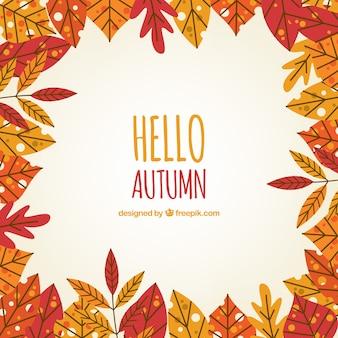Zabawa tle z liśćmi jesienią