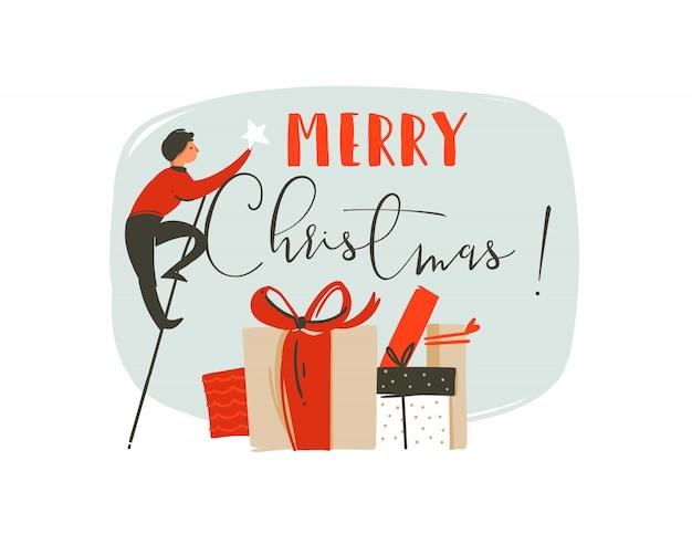 Zabawa wesołych świąt czas ilustracja kartka z życzeniami z człowiekiem, gwiazdą, wieloma pudełkami z niespodziankami i nowoczesną typografią wesołych świąt na białym tle